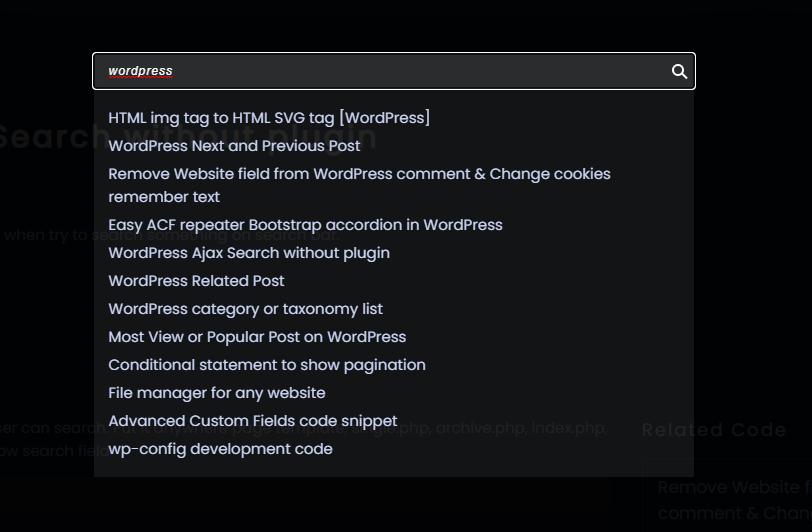 WordPress Ajax Search without plugin